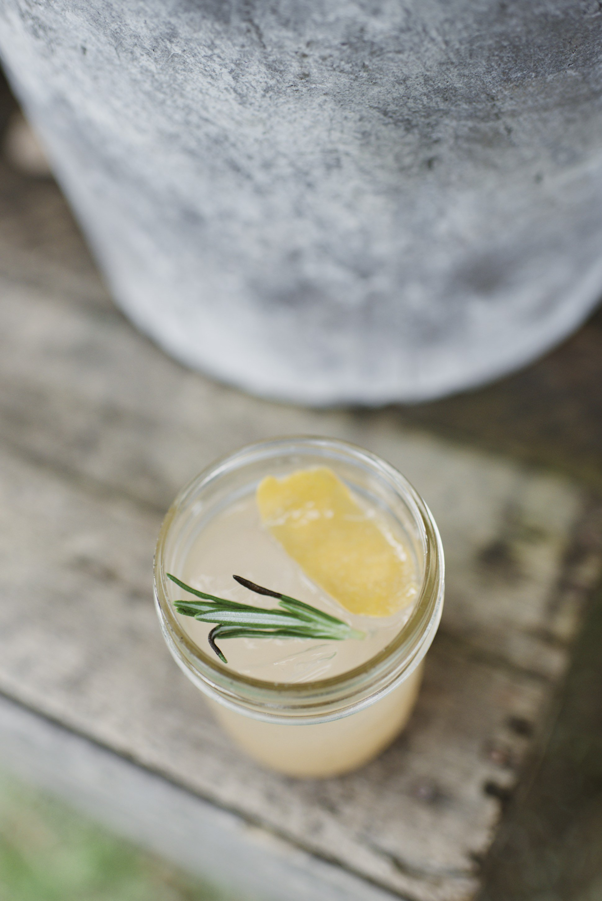 Mixed Drink with Lemon and Rosemary
